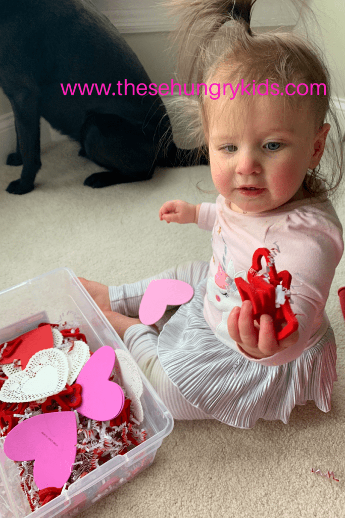Sensory bin valentines day