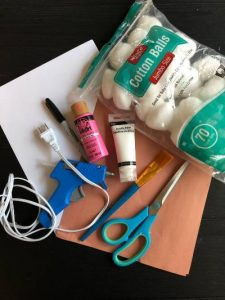 Supplies for DIY Easter bunny craft
