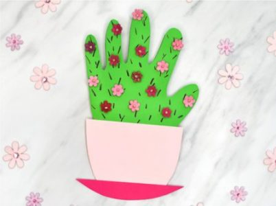 Cactus handprint card mother's day