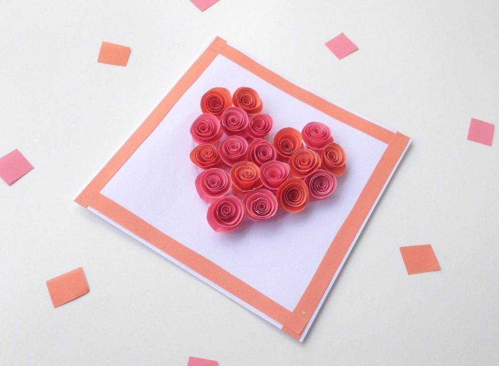 ROse filled heart shaped card