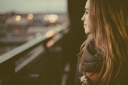 Woman thinking about postpartum body