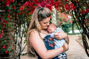 baby and mother on maternity leave