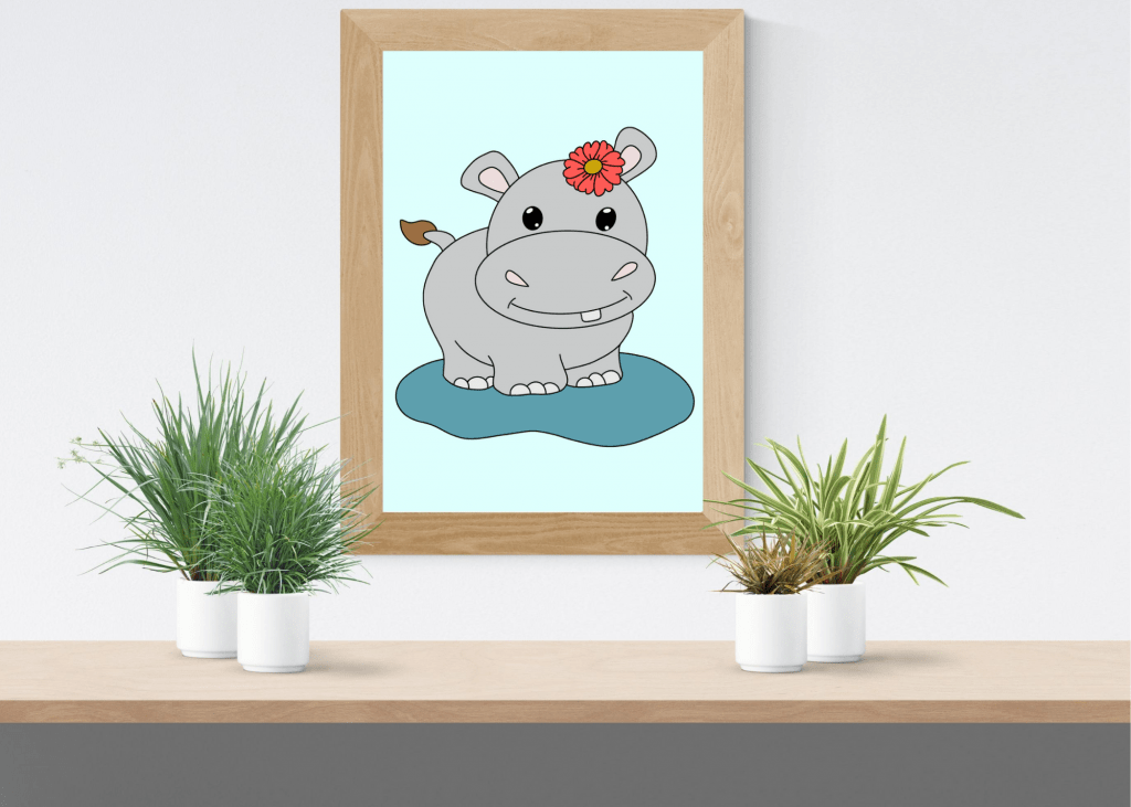 Hippo girl nursery print cute