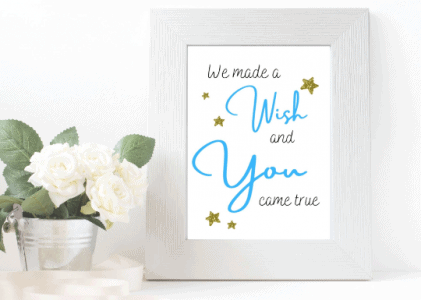 We made a wish nursery print blue
