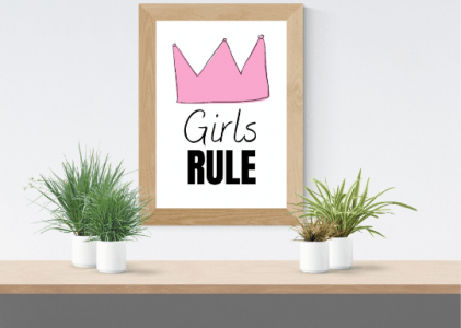 Girls rule pink crown wallart