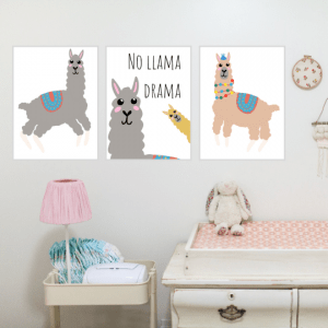 Llama nursery print set of 3