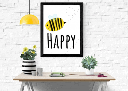 bee happy printable wallart