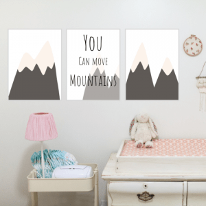 You can move mountains nursery print set