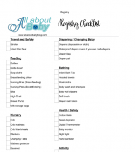 free baby registry checklist