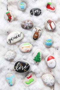 Christmas themed rock painting