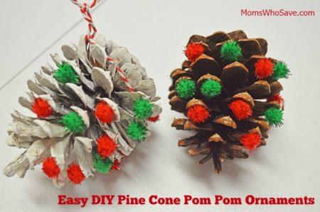 Pine cone pom pom ornaments