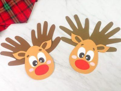 reindeer handprint christmas diy