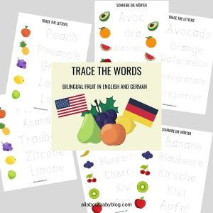 Trace the words fruit writing exercise english german
