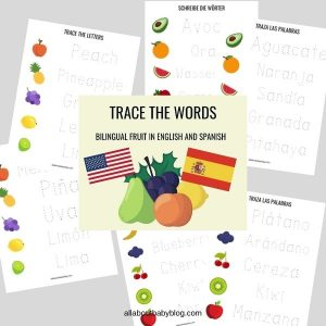 Trace the words fruit writing exercise english spanish