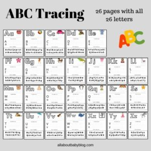 ABC tracing worksheets with all 26 letters of the alphabet