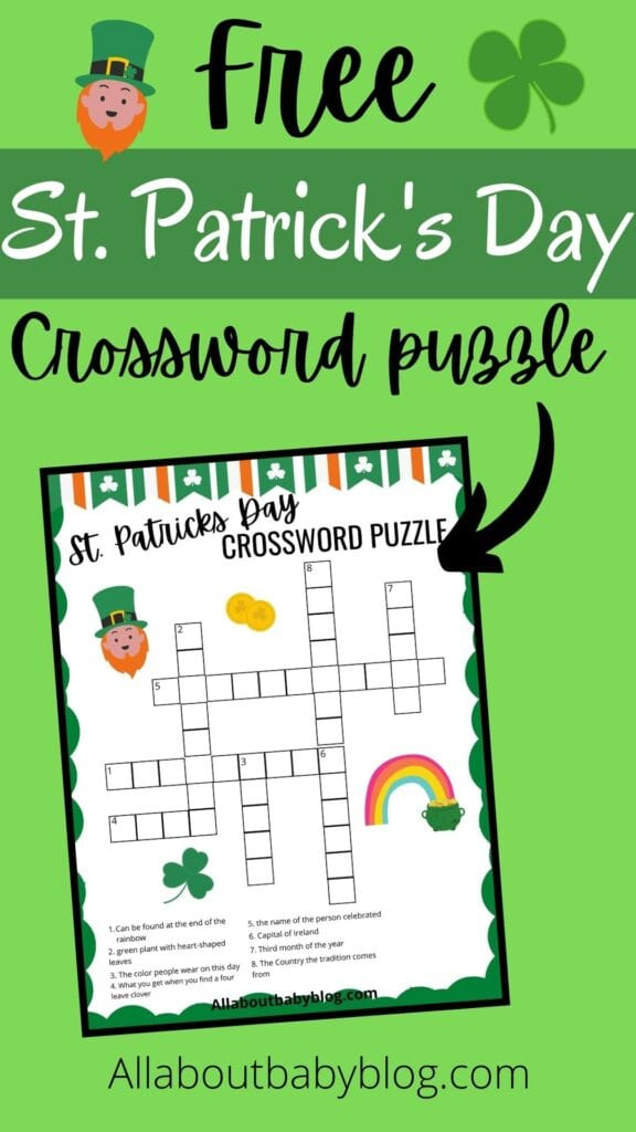 free saint patrick's day crossword puzzle to print at home