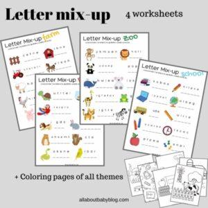 Letter mix up worksheets for kids