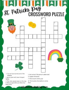 Free St. Patricks day crossword puzzle printable