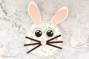 paper plate cotton ball easter bunny diy