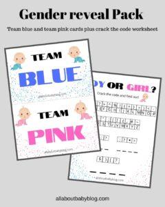 free gender reveal printable pack