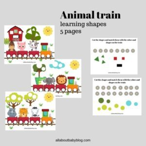 printable Animal train shape and color exercise for toddlers
