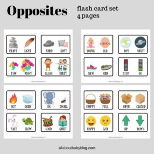 printable Flash card set with opposites for kids