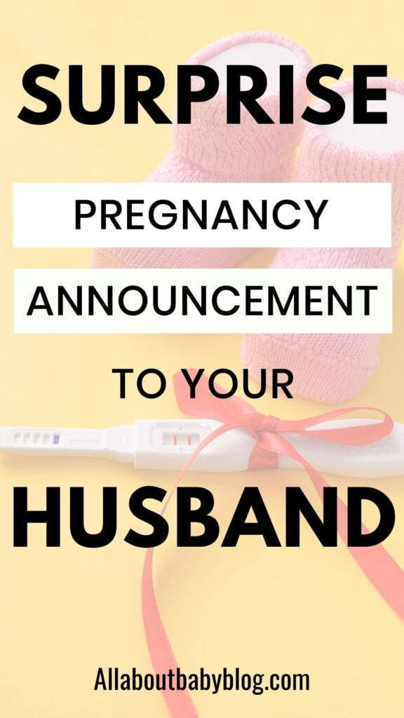 surprise husband with pregnancy announcement