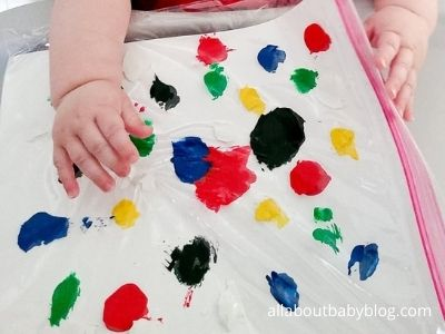 baby creating a no mess painting