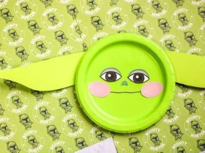 star wars baby yoda paper plate craft