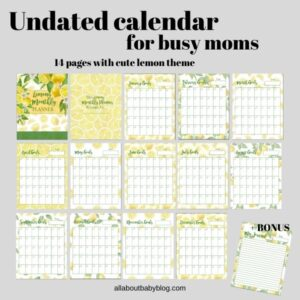 Instant download printable lemon calendar for busy moms