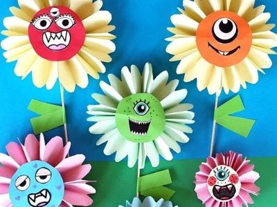 paper plate monster flowers with printable
