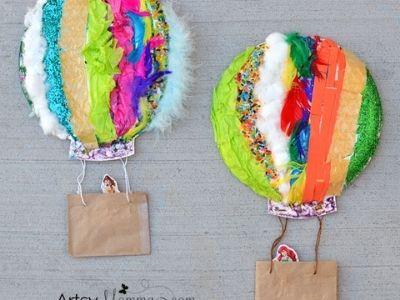 paper plate hot air ballons craft