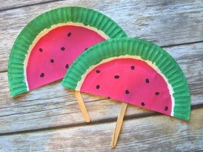 paper plate fan watermelo themed