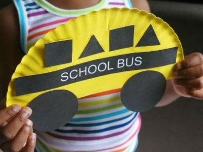 school bus paper plate craft back to school