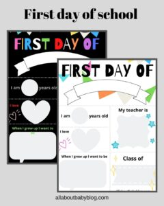 free download first day of school printable to fill out
