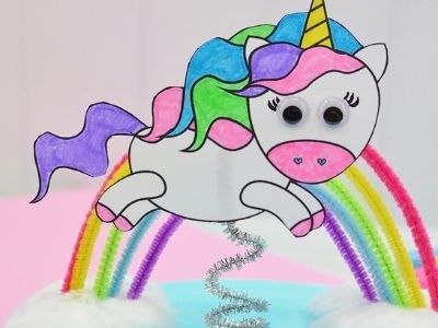 paper plate flying unicorn craft