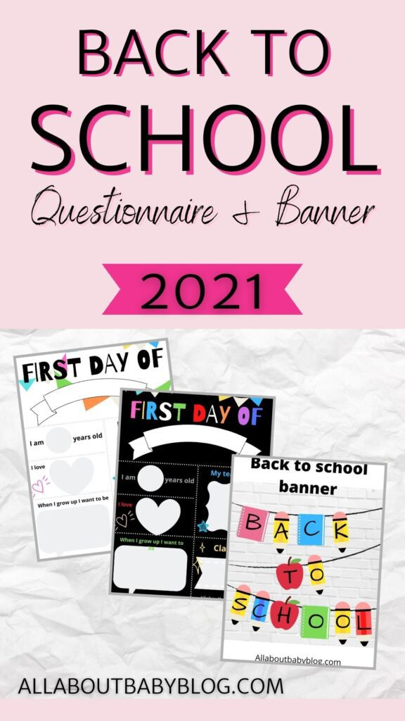 free back to school printable banner and questionnaire