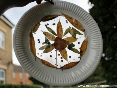 suncatcher with leaves made out of paper plate