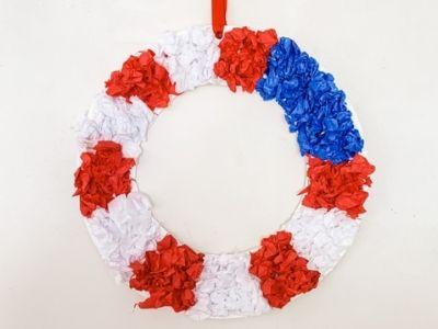 paper plate patriotic wreath american flag