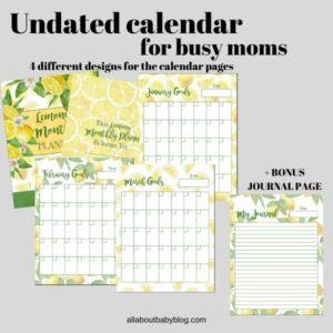 Calendar for busy moms printable lemon theme