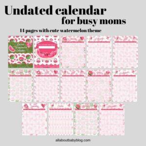 Undated watermelon calendar printable