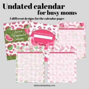 watermelon themed calendar for instant download undated